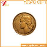 Pièce de monnaie de souvenir plaquée par or antique en métal 3D de qualité