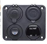 4 en 1 Prise chargeur de bord, Chargeur USB double socket 2.1A + voyant bleu voltmètre + prise 12V + interrupteur à bascule on-off, quatre fonctions de bord pour Voiture Bateau Mari