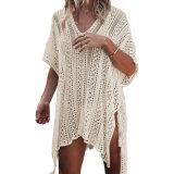 La mujer del albaricoque Crochet tejidos de punto de amarre de Borla Kimono trajes de baño