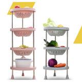 3 4 couches de la cuisine de fruits et légumes panier rond en plastique de stockage de l'étagère/cuisine étagère de stockage en casiers hc-1611