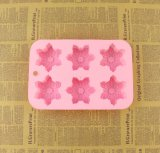 Molde dado forma flor do silicone do bolo do pudim do molde do silicone do sabão da cavidade da alta qualidade 6 grande