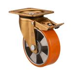 Hochleistungspolyurethan auf Aluminiumkern-Platten-Schwenker 6 Zoll Aluminium-PU-Fußrolle