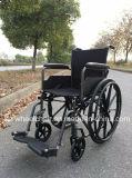 Brazos llenos, sillón de ruedas manual de acero