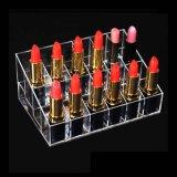 Escritorio de lujo del vector que coloca a barato 24 organizadores de acrílico del maquillaje del lápiz labial de las ranuras