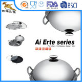 vaschetta di Fying del Wok del Cookware dell'acciaio inossidabile 3ply