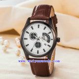 De Horloges van de Manier van de Riem van het Leer van de Legering van het Horloge van het Embleem van de douane (wy-G17009A)