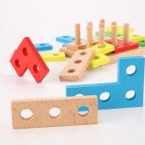 Het houten Speelgoed van de Kinderen van het Raadsel van de Stapel van de Raad van de Erkenning van de Kleur van de Vorm Geometrische Sorterende Ruige