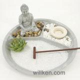 Cadeau d'intérieur de relaxation de jardin de Zen de noir de nécessaire de jardin de Zen fabriqué à la main