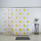Soft PEVA Superior cortina de ducha con Pato Amarillo