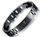 Gravure van de Manchet van het Christendom van de Armband van de Armbanden van de Bijbel van Praer van het Roestvrij staal van mensen de Zwarte Engelse Lord Dwars