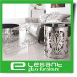Round mesa lateral de aço inoxidável com parte superior de vidro temperado