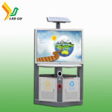 Poubelle imperméable à l'eau solaire DEL annonçant la poubelle avec les panneaux solaires