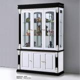 Modernes weißes schwarzes hölzernes Glaswein-Speicher-Verkaufsmöbel