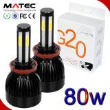 Novos Chips de sabugo G20 Carro Farol LED Lâmpadas do farol H4 80W 8000lm