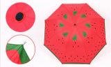 Handbuch-geöffneter Baum-Falten-Regenschirm mit rote Farben-Entwurf