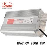250W van het hoofd 15VDC17A IP67 Waterdichte Openlucht Constante Voltage Bestuurder