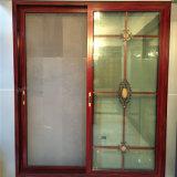 Puerta del panel de desplazamiento de aluminio de la doble vidriera del marco del grano de madera