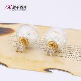 E-164 Xuping Fashion 14k Gold-Plated Cz Diamond Bijouterie de fantaisie en perles de verre Earring