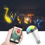 Lampen van de Spreker van de Muziek van de Controle van Bluetooth van de LEIDENE RGB Bol van de Kleur Lichte E27 Slimme Audio