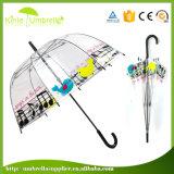 自動開いた花の印刷の透過まっすぐな傘