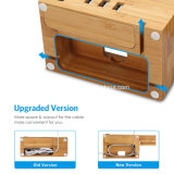 3USB Universal Port Bamboo Wooden Desktop Charger Phone Dock Holder