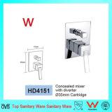 Filigrane carré laiton dissimulé Mélangeur de douche avec tôle de diversion (HD4151)
