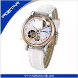Relógio mecânico do OEM para mulheres com a faixa do couro genuíno