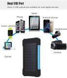 Chargeur portatif extérieur de téléphone du chargeur de batterie solaire de côté de pouvoir de ports USB duels 10000mAh avec l'éclairage LED