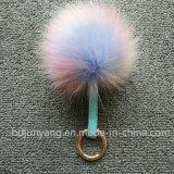 Zilveren Vos Keychain Faux van de Bal van het Bont van de Wasbeer van de goede Kwaliteit de Valse