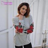 둥근 목 긴 소매 정규 꽃 스웨터 두건이 있는 스웨트 셔츠