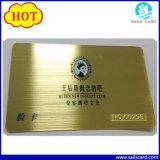 Tarjeta grabada hueco plateada oro del metal para el regalo de la promoción
