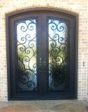正方形の上のカスタム機密保護のガラスが付いているニースの鉄のEntraceのドア