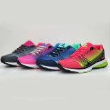方法様式の黒は女性のスポーツのスニーカーのTriathlonの運動靴に蹄鉄を打つ