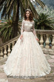 3/4 de vestido nupcial 2017 A111 da faixa da cor-de-rosa do vestido de casamento do laço das luvas