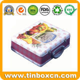 Contenedor de alimentos rectangular de metal con mango, el almuerzo tin box