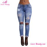 Hexin Wholesale Hollow out Denim Jeans Calças Leggings