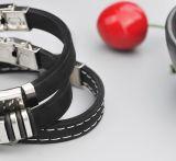 Braccialetto d'argento di modo del braccialetto del cuoio del braccialetto dei monili degli uomini dell'acciaio inossidabile