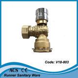 Vávula de bola bloqueable de cobre amarillo del contador del agua (V18-802)