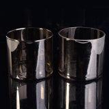 Espaço livre pequeno de vidro do suporte de vela, suportes de vela de vidro da cor do ouro