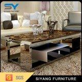 Mesa de centro casera del acero inoxidable del vector del mármol de los muebles
