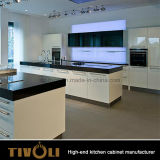 Zeitgenössischer Küche-Möbel-Entwurfs-übersteigt moderner weißer Lack-Küche-Schrank mit Quarz Tivo-0066V