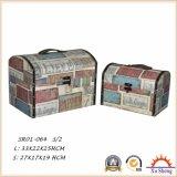골동 가구 인쇄되는 직물을%s 가진 나무로 되는 여행 가방 저장 상자 선물 상자