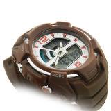 ABS umkleiden Gummiband-Schweizer Bewegungwasserdichte Brown-Dekor-Uhr