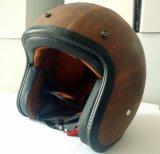 証明される型のタイプオートバイの革開いた表面ヘルメットの点