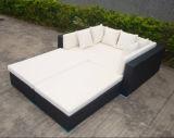 형식 다기능 옥외 정원 가구 등나무 Lounger 의자 속이는 침대 소파 세트