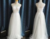 偶然の二重細い肩ひものAラインの実物大屋外のウェディングドレス