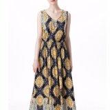 Moda Mujer Ocio Casual Chiffon Imprimir V-Neck Beach Dress