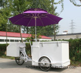 商業アイスクリームのアイスキャンデーによって冷やされている三輪車