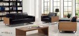 Sofá seccional de madera y de cuero moderno de la oficina de la sala de espera