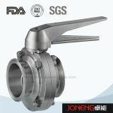 Válvula de borboleta apertada sanitária de Maunal do aço inoxidável (JN-BV1001)
